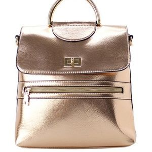 FABULOUS ROSE GOLD LEATHER BOOK BAG/BACKPACK